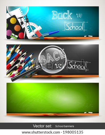 Set of three horizontal banners with school supplies on the chalkboard - stock vector