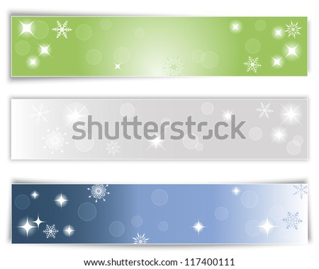 Set of three horizontal Christmas banners with different shadows. Vector illustration. - stock vector