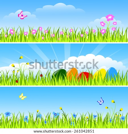 Set of three horizontal drawings - easter eggs, green grass, flowers and insect on blue sky, clouds and sun background, vector illustration - stock vector