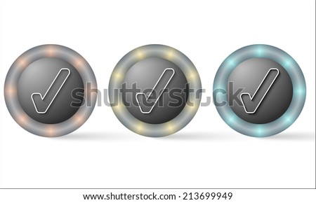 set of three icons with check box - stock vector