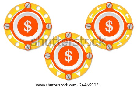 Set of three icons with perforated ring and dollar symbol - stock vector