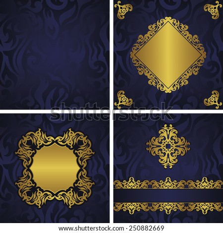 Set of three invitation cards and template of seamless floral wallpaper. Modern invitation with vintage decoration. Original design                           - stock vector