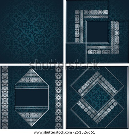 Set of three invitation cards and template of seamless vintage wallpaper. Modern invitation with decorative borders. Original design                           - stock vector