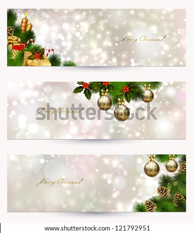 set of three light Christmas banners with vitality cones, fir tree and balls - stock vector