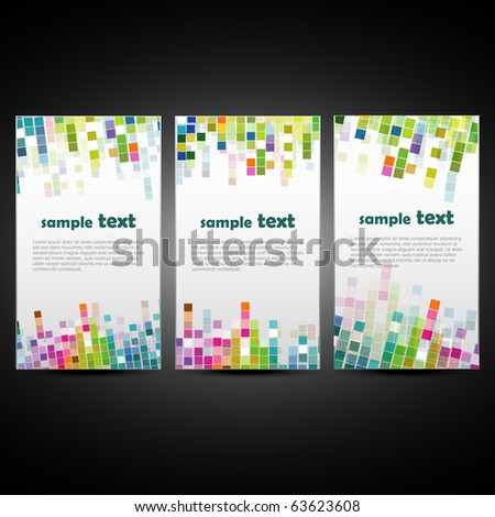 set of three mosaic style background - stock vector