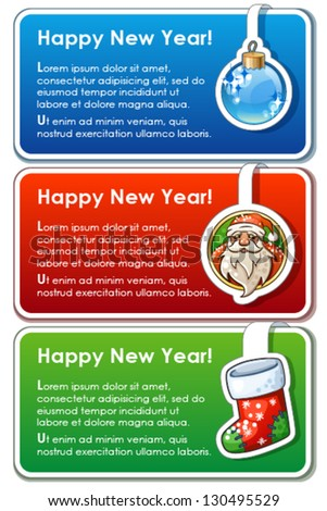Set of three new year banners with sample text and cartoon icons - stock vector