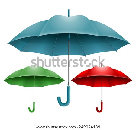 Set of three open umbrella in different colors. Vector. Isolated on white background. - stock vector