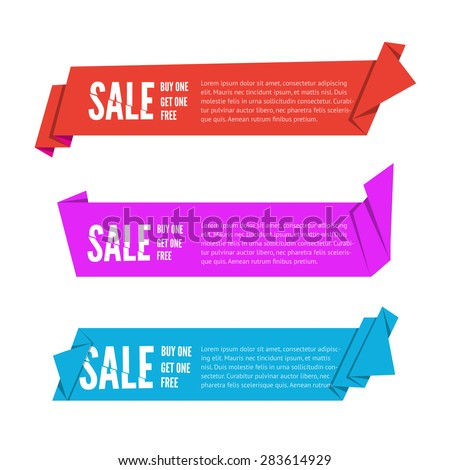 Set of three Origami paper ribbons for sale. Vector flat banner design for advertising with space for text