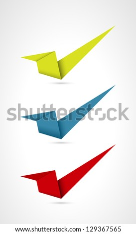 Set of three origami style accept signs / accept sign - stock vector
