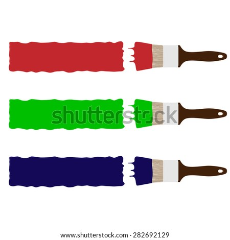 Set of three paint brush drawing brush stokes red, green and blue vector illustration. Paint brush painting banner - stock vector