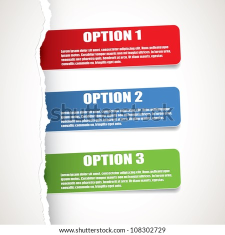 Set of three paper options