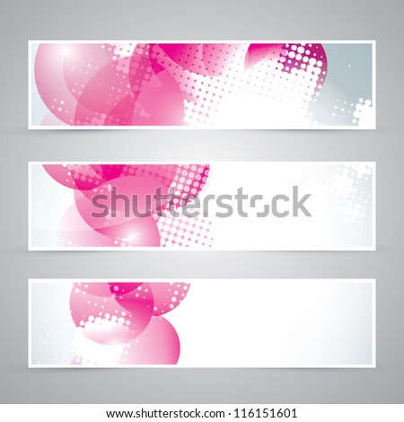 Set of three pink banners vector eps10 - stock vector