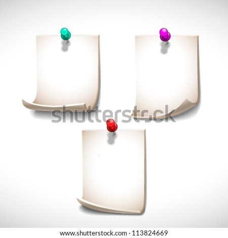 Set of three pinned blank sheets of paper - vector illustration for your business presentations. - stock vector