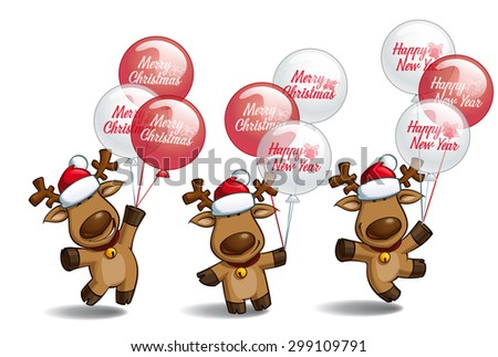 "Set of three poses-themes of a cartoon illustration of a Christmas elk holding a bunch of balloons writing ""Merry Christmas"" and ""Happy New Year"". Each pose on separate layer.  - stock vector"