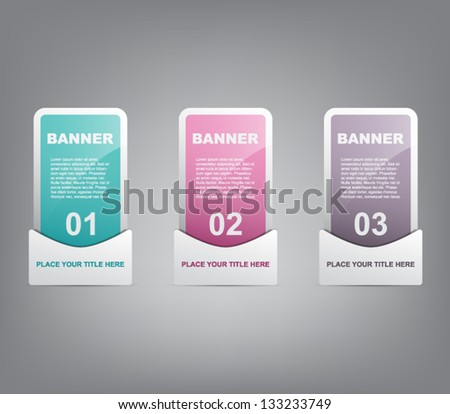 Set of three progress shiny plastic banners for infographics, business design, infographics, number options, step presentation, reports, web design or workflow layout. Modern and glossy style