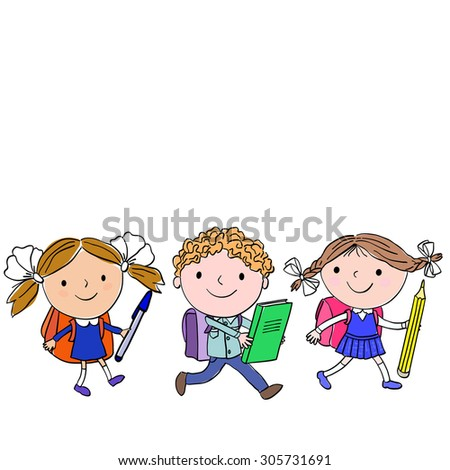 Set of three pupils with big school supplies on a white background - stock vector