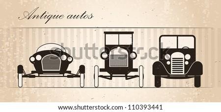 Set of three retro automobiles - stock vector