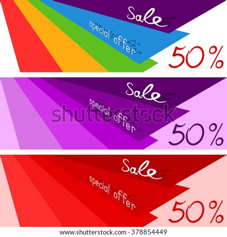 Set of three sale horizontal coupon. Sale design template for tag, banner, offer. Vector illustration eps 10. - stock vector