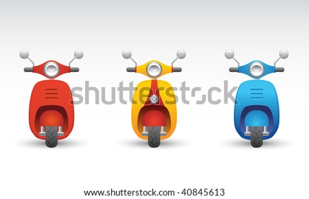 Set of three scooters - stock vector