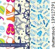 Set of three seamless pattern. Sea and beach theme. Easy editable, vector format. - stock vector