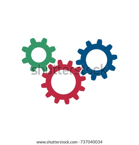Set three simple gears vector illustration stock vector 737040034 set of three simple gears vector illustration isolated on a white background sciox Image collections