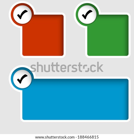 set of three text boxes with check box - stock vector