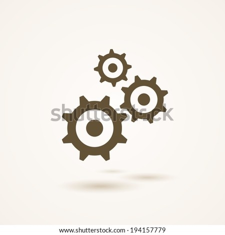Set of three toothed silhouetted gears or cogs in different sizes conceptual of industry  development and machinery   simple grey and white vector illustration - stock vector