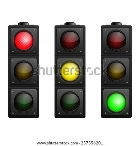 Set of Three Traffic Lights isolated on white. Vector illustration.  - stock vector