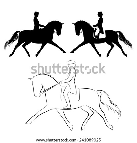Set of three variations off dressage horse with rider performing extended trot