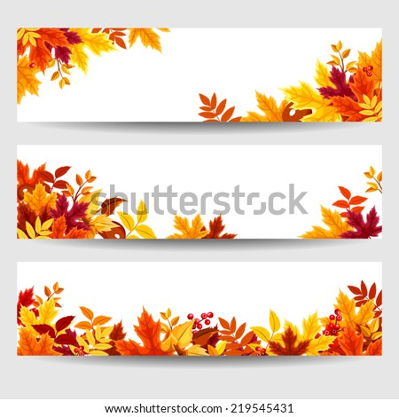 Set of three vector banners with colorful autumn leaves.