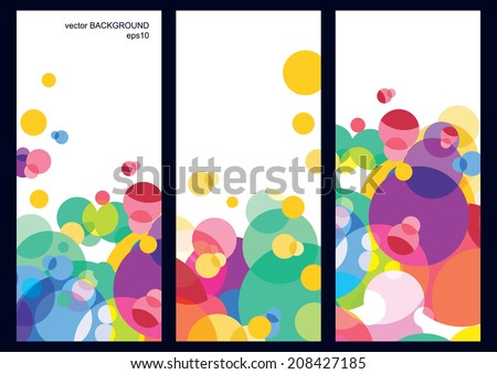 Set of three vector colorful banner background with place for text. Multicolor overlapping circles pattern. Design concept for cover, brochure, flyer.