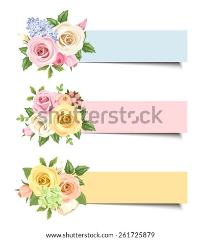 Set of three vector colorful web banners with pink, white, orange and yellow roses and lisianthus flowers and green leaves.  - stock vector