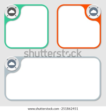 set of three vector frames and cloud - stock vector