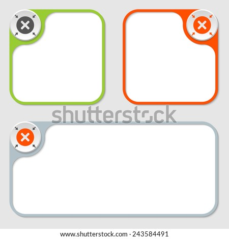 set of three vector frames and multiplication symbol - stock vector