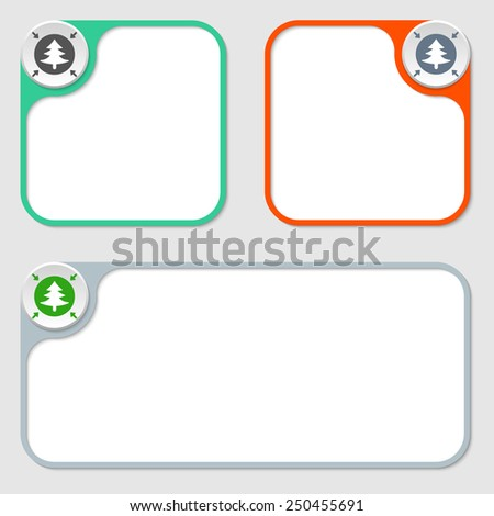 set of three vector frames and tree symbol - stock vector