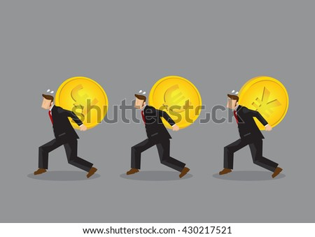 Set of three vector illustrations of cartoon businessman character carrying huge heavy gold coin with different currency symbols on his back.  - stock vector