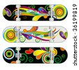 Set of Three Vector Skateboard Designs - stock vector
