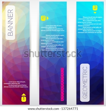 Set of three vertical banners. Multicolored  polygonal vector background with elements of infographics. - stock vector