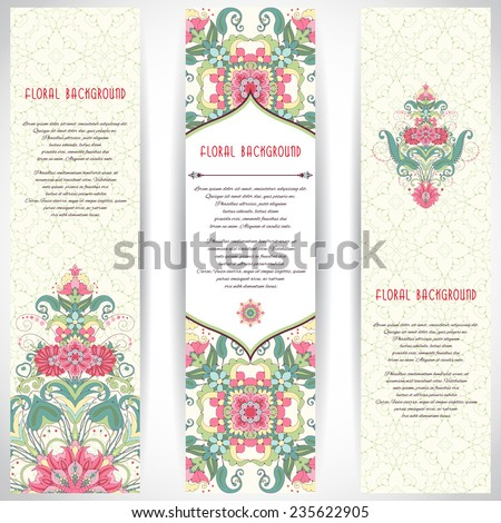 Set of three vertical banners. Oriental floral pattern and delicate ornament. Delicate green and pink.Place for your text.  - stock vector