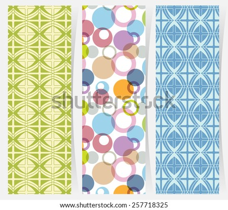 Set of three vertical geometric banners or bookmarks. Abstract decorative ethnic ornamental backgrounds, border lace patterns set. Series of image template frame