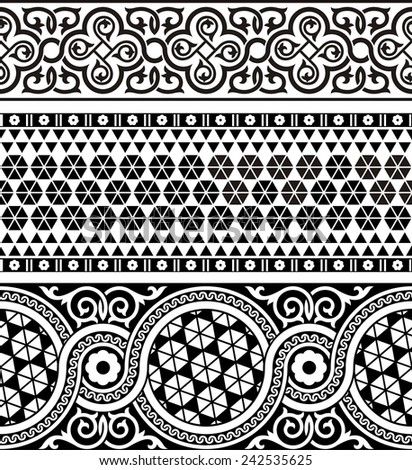 Set of three vintage ornamental border in asian style - stock vector