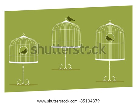 set of three vintage stands cages - stock vector