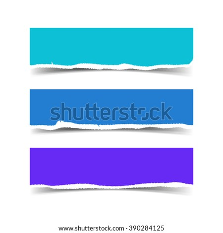 Set of three web banners with torn paper and space for text Realistic Vector torn paper with ripped edges for websites header. Torn paper with soft shadow - stock vector