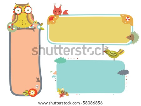 Set of three wildlife themed frames. - stock vector