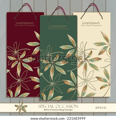 Set of three Wine Gift Bags on wood texture. Vector design template. Red, white & any wine or spirit present bag design. Original Autumn Leaf pattern is complete masked. Editable. Golden Leaf icon.  - stock vector