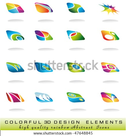 Set of Threedimensional abstract design elments with soft shadow and delicate colours - stock vector