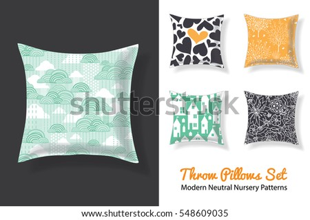 Set Of Throw Pillows With Matching Unique Neutral Nursery Repeat Patterns Prints Featuring Hearts, Houses, Stars, Trees . Square Shape. Editable Vector Template.