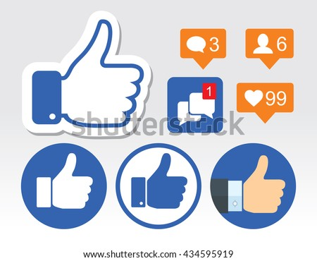 Set of thumb up icons, like icons - stock vector