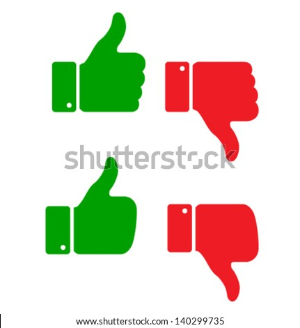 Set of thumb up icons, vector illustration - stock vector