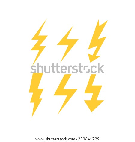 set of thunder bolts  - stock vector